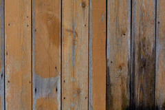 Old wooden fence. With peeling yellow paint Royalty Free Stock Image