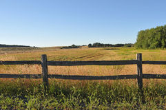 Old wooden fence in a rural field Royalty Free Stock Images