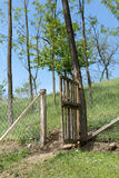 Old wooden fence in the village Royalty Free Stock Photography