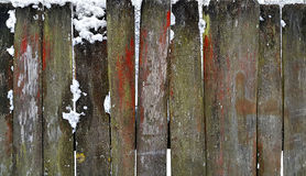 Old wooden fence in winter Royalty Free Stock Images