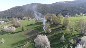 aerial view about some peculiar valleys typic in Transylvania, Romania, with mountain village stock video