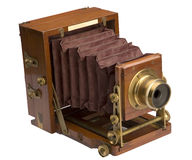 Old Wooden Field Camera. Very old mahogany field camera made in America in 1889, producing a huge 5 x 4 inch negative Royalty Free Stock Image