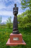 Old wooden figure in Bukovany, southern Moravia, Czech republic. Bukovany, Southern Moravia, Czech republic - May 2, 2017: Monument Saint Vrbanvs. Old wooden stock photos