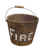 Old wooden fire bucket isolated. stock photography