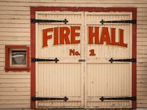 Old wooden Fire Hall door in the ghost town of Sandon, BC. Old wooden Fire Hall door in the ghost town of Sandon, British Columbia, Canada Stock Photography