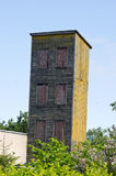 Old wooden firehouse training tower. With windows Royalty Free Stock Images