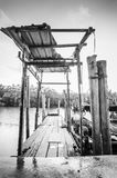 Old wooden fisherman boat jetty Royalty Free Stock Images