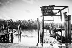 Old wooden fisherman boat jetty Royalty Free Stock Photos