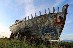 Old wooden fishing boat akranes iceland Royalty Free Stock Photos