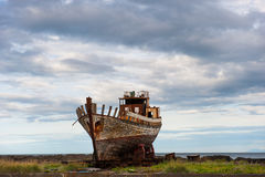 Old wooden fishing boat, Akranes, Iceland Royalty Free Stock Photos