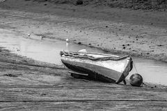 Old wooden fishing boat, B&W Royalty Free Stock Photo