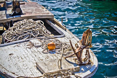 Old Wooden Fishing Boat Detail Stock Photo