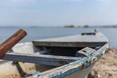 Old wooden fishing boat stock photo