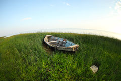 Old wooden fishing boat on the green grass Royalty Free Stock Image