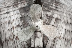 Old wooden fishing boat propeller Royalty Free Stock Photos