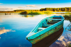 Old Wooden Fishing Boat In River Stock Image