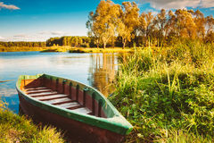 Old Wooden Fishing Boat In River Royalty Free Stock Photos