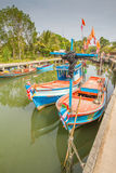 Old wooden fishing boat on sea Royalty Free Stock Photography
