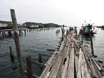 Old wooden fishing bridge Stock Image