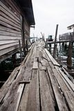 Old wooden fishing bridge Royalty Free Stock Photo