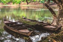 Old wooden fishing canoe, Siem Reap, Cambodia. Royalty Free Stock Photos