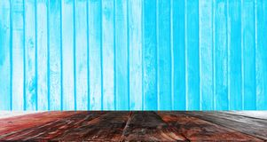 Old wooden floor, blue wall for use as background image. Empty rooms, old wooden floors, blue walls for use as a background image royalty free stock photos