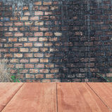 Old wooden floor  on brick wall  ,grung background Royalty Free Stock Image