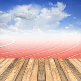 Old wooden floor at curve of a running track Royalty Free Stock Image