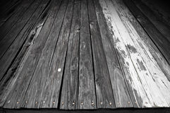 Worn wooden floor surface Stock Images
