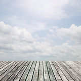 Old wooden floor platform on view nature background Royalty Free Stock Photography