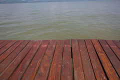 Old wooden floor and sea. Royalty Free Stock Photo