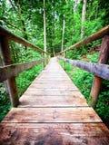 Old wooden footbridge Stock Photo