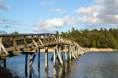 Old wooden footbridge Royalty Free Stock Image
