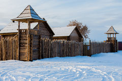 Old wooden Fort. A stockade. winter near the lake Royalty Free Stock Images
