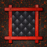 Old wooden frame against a hot lava background with copy space in the centre Royalty Free Stock Photos