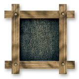 Old  wooden frame against a white background with black wood copy space in the center Stock Photo