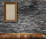 Old wooden frame on bricks wall. Royalty Free Stock Photos