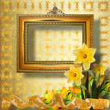 Old wooden frame with bunch of flower narcissus Stock Photo