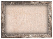 Old wooden frame with burlap background. For design Stock Photos