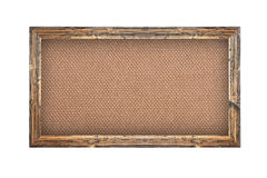 Old wooden frame with burlap background Stock Photo