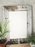 Old wooden frame on the corer Royalty Free Stock Images