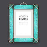 Old Wooden Frame with Cyan Paint Stock Image