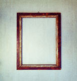 Old wooden frame on a gray grunge background Stock Photography
