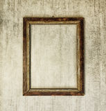 Old wooden frame on grey grunge background Royalty Free Stock Photography