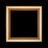 Old wooden frame isolated on black background. Royalty Free Stock Images