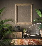 Old wooden frame mock-up in ethnic interior. 3d render stock illustration
