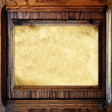 Old wooden frame with paper Stock Photo