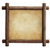 Old wooden frame with paper or parchment background isolated Royalty Free Stock Photography