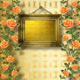 Old wooden frame for photo with garland. Of painting rose royalty free illustration