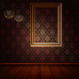 Old wooden frame on the wall. Royalty Free Stock Photo